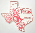 Texas State Outline Fridge Magnet Design 3
