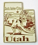 Utah State Outline Fridge Magnet Design 3
