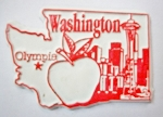 Washington State Outline Fridge Magnet Design 3