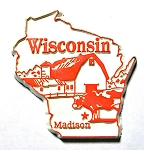 Wisconsin State Outline Fridge Magnet Design 3
