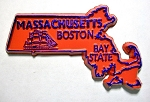 Massachusetts State Outline Souvenir Fridge Magnet Design 10
