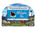 Massachusetts State Welcome Sign Artwood Fridge Magnet