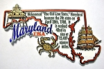 Maryland The Old State Line Outline Montage Fridge Magnet Design 4