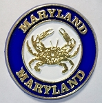 Maryland Round Magnet with Crab Fridge Magnet Design 10