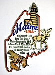 Maine The Pine Tree State Outline Montage Fridge Magnet Design 4