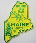Maine State Outline Fridge Magnet Yellow with Green Lettering Design 10