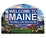 Maine State Welcome Sign Artwood Fridge Magnet