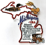 Michigan The Wolverine State Outline Montage Fridge Magnet Design 4