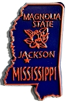Mississippi State Souvenir Outline Fridge Magnet