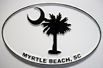 Myrtle Beach White Oval Fridge Magnet Design 10