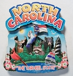 North Carolina Montage Artwood Fridge Magnet Design 16