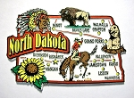 North Dakota Jumbo Map Fridge Magnet Design 9