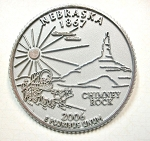 Nebraska State Quarter Fridge Magnet