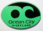 Ocean City Maryland Green Wave Souvenir Oval Fridge Magnet Design 10