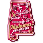 Alabama Premium State Map Magnet