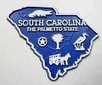 South Carolina State Outline Fridge Magnet Design 2