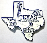 Texas State Outline Fridge Magnet Design 2
