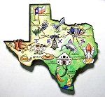 Texas State Outline Artwood Jumbo Magnet Design 12