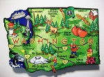 Washington State Outline Artwood Jumbo Fridge Magnet Design 12