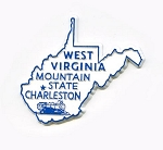 West Virginia State Outline Fridge Magnet Design 1