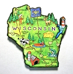 Wisconsin State Outline Artwood Jumbo Magnet Design 12