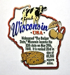 Wisconsin Outline Montage Fridge Magnet Design 4