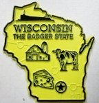 Wisconsin State Outline Fridge Magnet Design 2