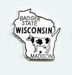Wisconsin State Outline Fridge Magnet Design 1