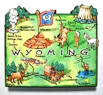 Wyoming State Outline Artwood Jumbo Magnet Design 12