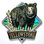 Yellowstone National Park with Black Bear Fridge Magnet Design 1