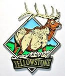 Yellowstone National Park with Elk Fridge Magnet Design 1