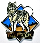 Yellowstone National Park with Wolf Fridge Magnet Design 1