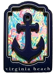 Virginia Beach with Anchor Artwood Fridge Magnet
