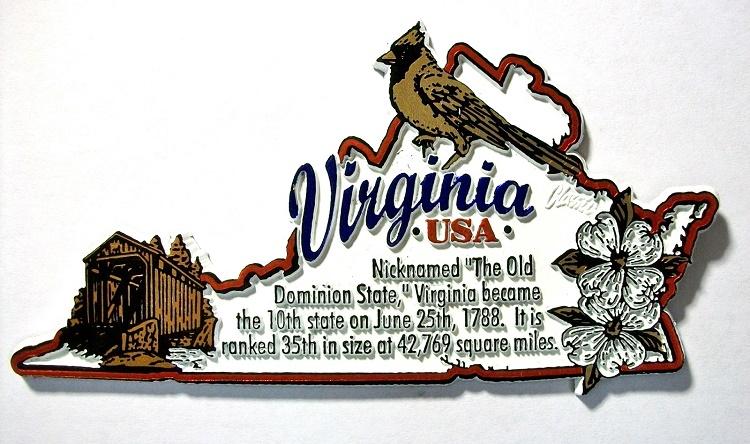 virginia state outline montage fridge magnet design 4