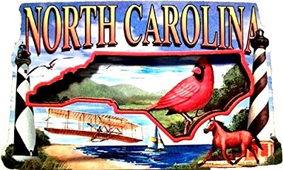 North Carolina Montage Artwood Fridge Magnet