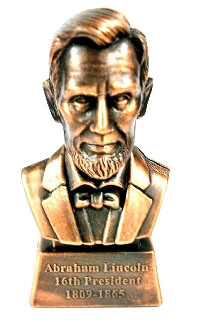 Abraham Lincoln 16th President Bust Die Cast Metal Collectible Pencil Sharpener