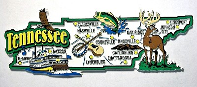 Tennessee Jumbo Map Fridge Magnet Design 9