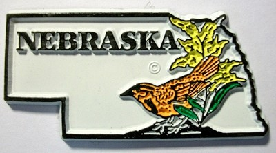 Nebraska State Outline with Western Meadowlark and Flowers Fridge Magnet Design 1