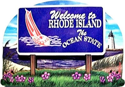 Rhode Island State Welcome Sign Artwood Fridge Magnet