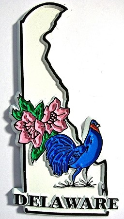 Delaware State Outline with Blue Hen and Flowers Fridge Magnet Design 1