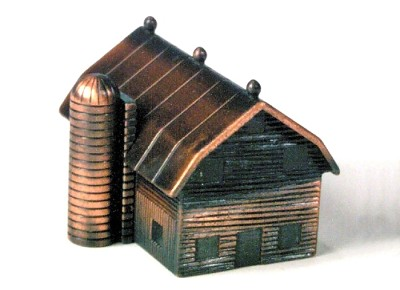 Barn with Silo Die Cast Metal Collectible Pencil Sharpener Design 1