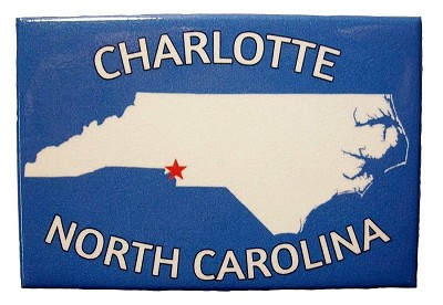 Charlotte North Carolina Blue Fridge Magnet