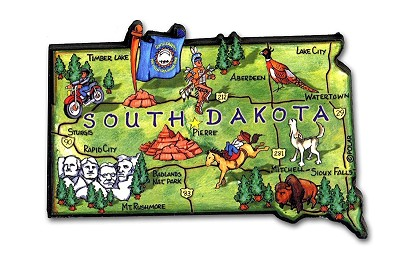 South Dakota State Outline Artwood Jumbo Magnet