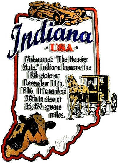 Indiana The Hoosier State Outline Montage Fridge Magnet