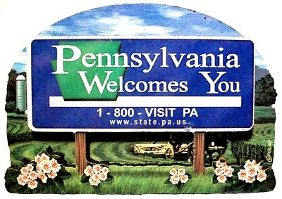 Pennsylvania State Welcome Sign Artwood Fridge Magnet