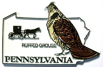 Pennsylvania State Outline with Ruffed Grouse Fridge Magnet