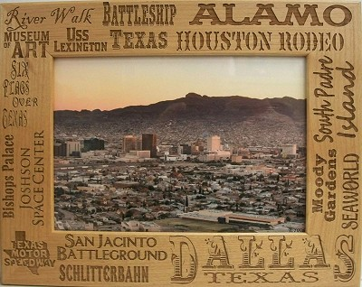 Dallas Texas Collage Laser Engraved Wood Picture Frame (5 x 7)