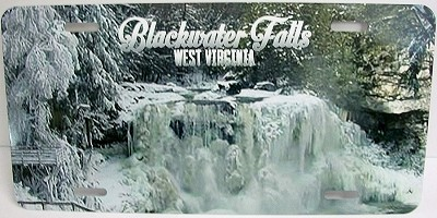 Blackwater Falls West Virginia Winter Picture License Plate
