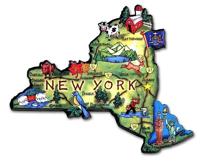 New York State Outline Artwood Jumbo Fridge Magnet