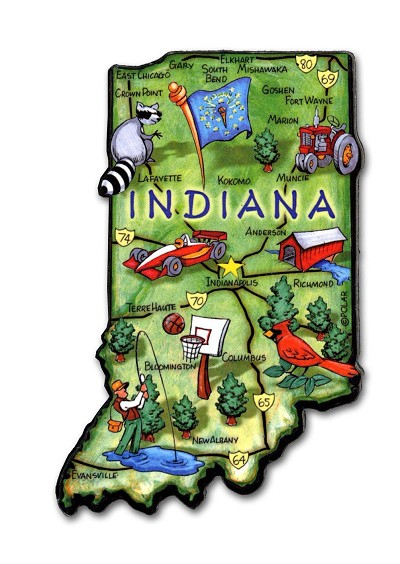 Indiana State Outline Artwood Jumbo Magnet